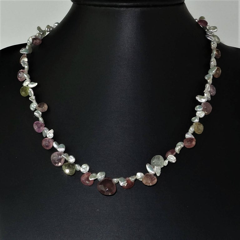 Choker of Multi-Color Natural Sapphire Biolettes and Freshwater Pearls In New Condition For Sale In Tuxedo Park , NY