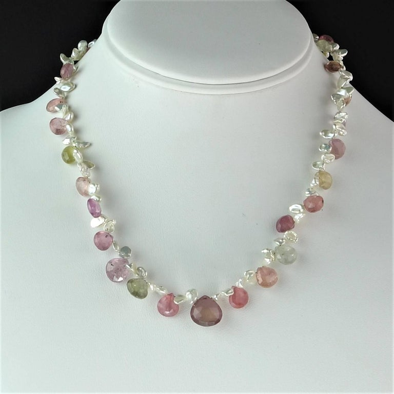 Women's Choker of Multi-Color Natural Sapphire Biolettes and Freshwater Pearls For Sale