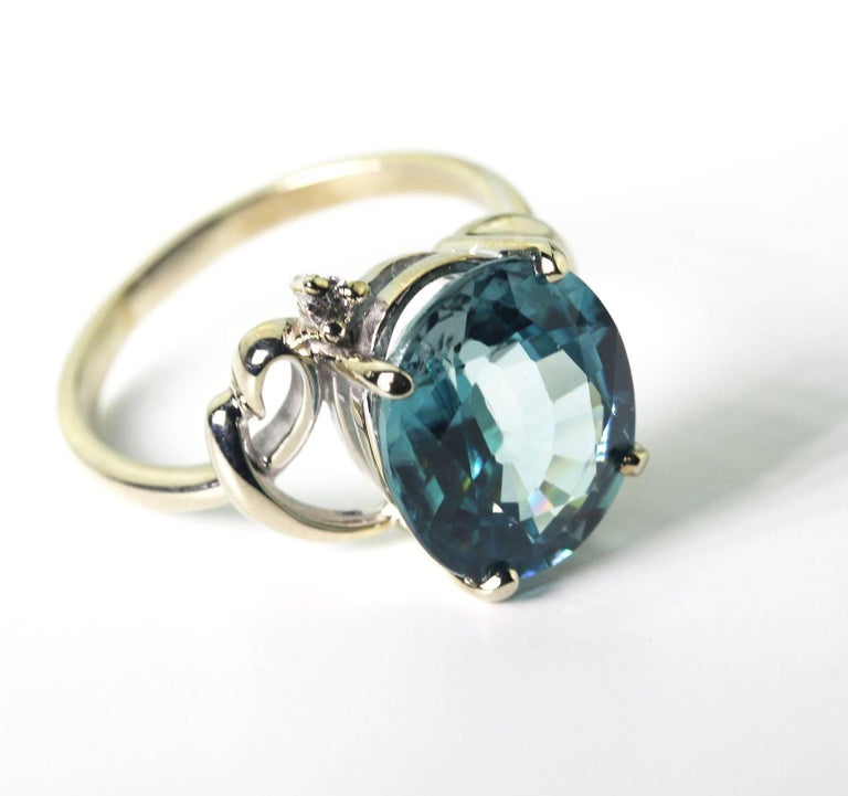 7.8 Carat Blue Zircon and Diamond 14Kt Gold Party Ring In New Condition For Sale In TUXEDO PARK, NY
