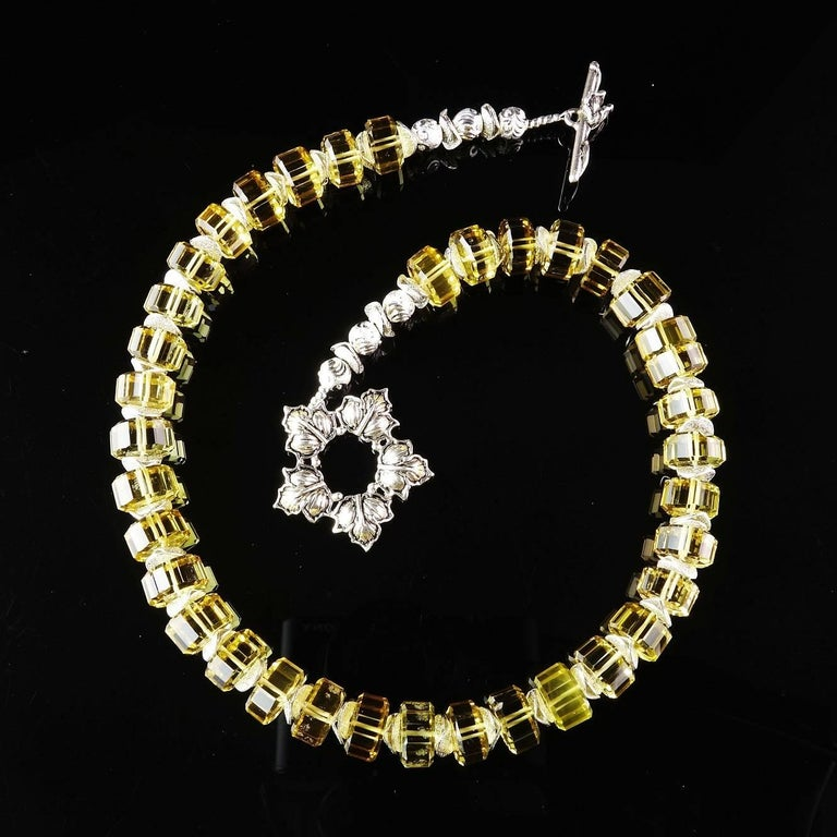 Custom made choker necklace of beautifully Fancy Cut Citrine Rondels, 10mm, accented with frosted silver tone flutters. These are gorgeous genuine gemstones strung together to create a bold choker. The Turkish Sterling Silver weath toggle clasp sets