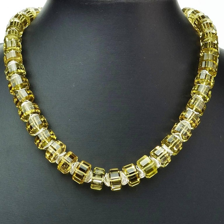 Women's Choker Necklace of Fancy Cut Citrine Rondels with Sterling Silver Clasp For Sale