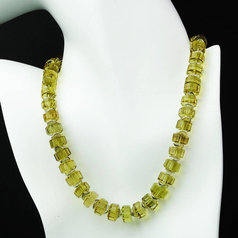 Choker Necklace of Fancy Cut Citrine Rondels with Sterling Silver Clasp For Sale 1