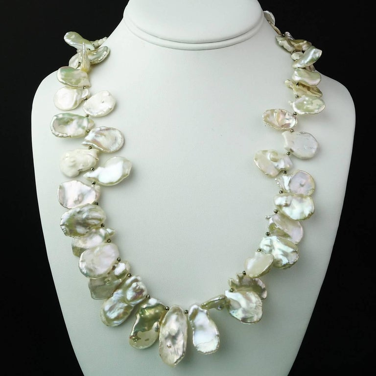 Matinee Length, White, Iridescent Keshi Pearl Necklace In New Condition For Sale In TUXEDO PARK, NY