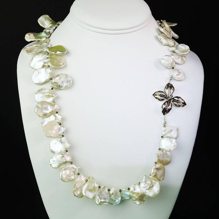 Matinee Length, White, Iridescent Keshi Pearl Necklace For Sale 1