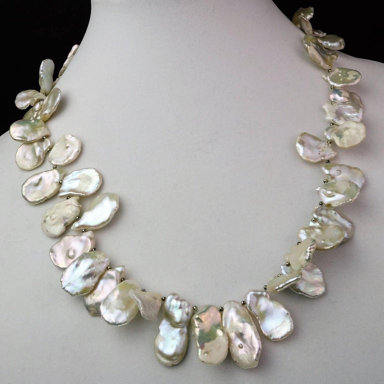 Matinee Length, White, Iridescent Keshi Pearl Necklace For Sale 2
