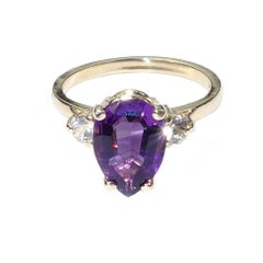 Brazilian Pear Shape Amethyst with White Sapphires in Yellow Gold Ring