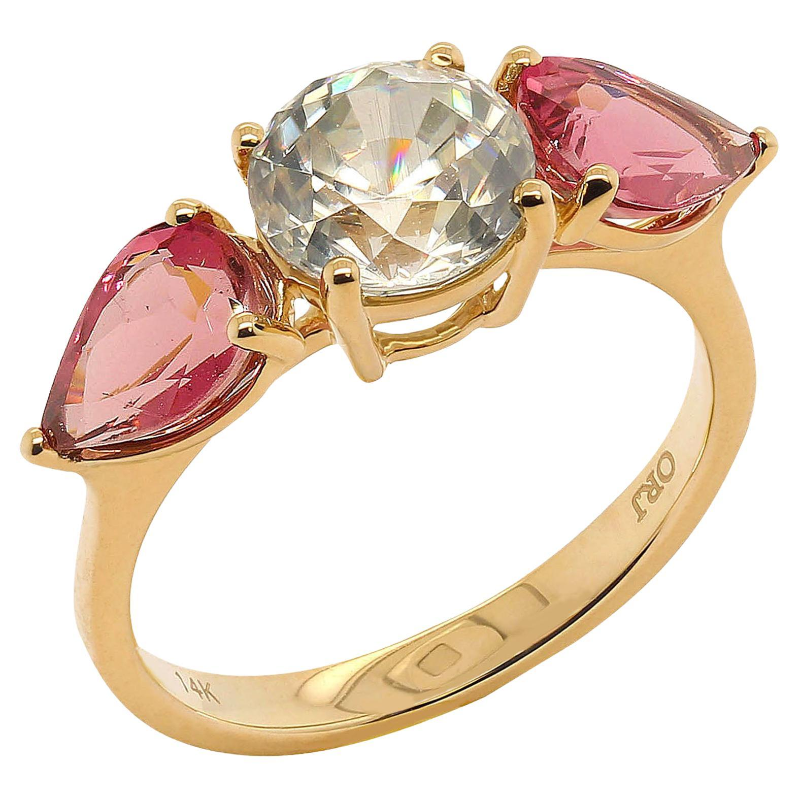 Sparkling White Cambodian Zircon and Pink Tourmaline Ring