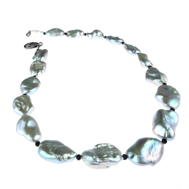 Iridescent Silvery Baroque Pearl Necklace For Sale