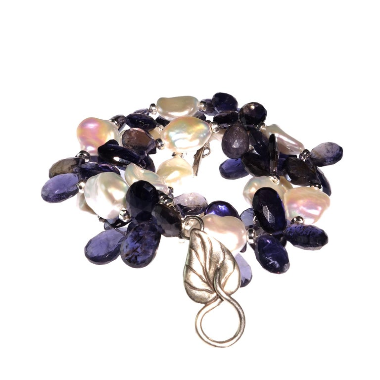 Keshi Pearl and Blue Iolite Briolette Necklace For Sale 1