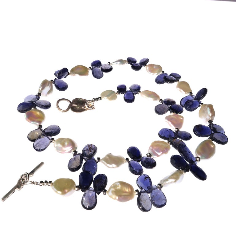 Keshi Pearl and Blue Iolite Briolette Necklace For Sale 2