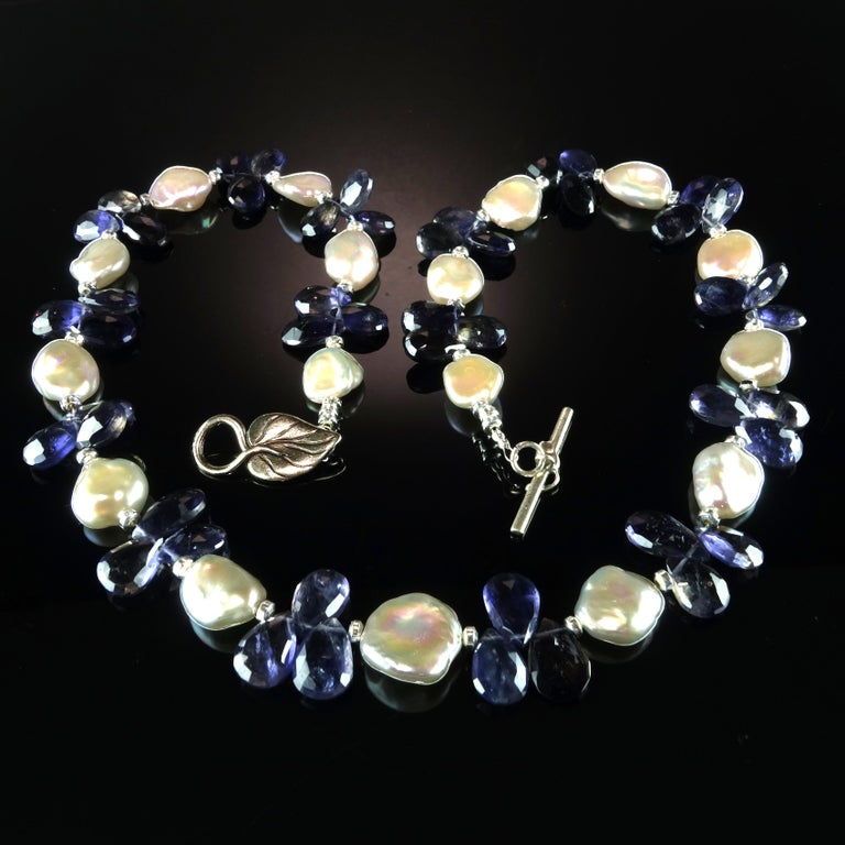 Keshi Pearl and Blue Iolite Briolette Necklace For Sale 3