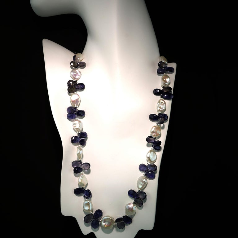 Keshi Pearl and Blue Iolite Briolette Necklace For Sale 5