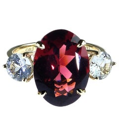 Oval Red Rhodolite Garnet and Round White Sapphire Cocktail Ring