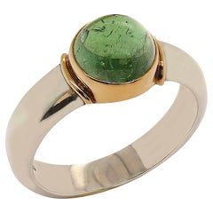 Blue-Green Cabochon Tourmaline and Sterling Silver Ring with 18K Gold