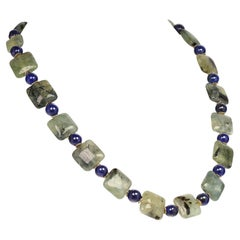 Glowing Green Brazilian Prehnite with Blue Agate Necklace