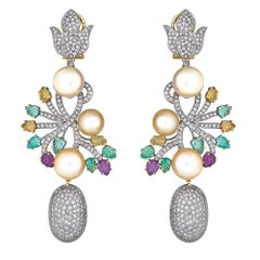 18 Karat Gold Drop Earrings Set Diamonds, Ruby, Emerald and South Sea Pearl