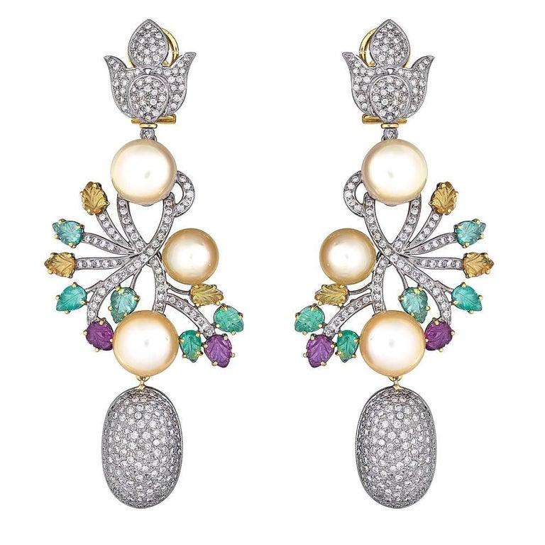 18 Karat Gold Drop Earrings Set Diamonds, Ruby, Emerald and South Sea Pearl