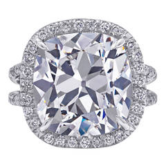 8 Carat Center Cushion Cut Diamond Platinum Ring