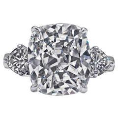 Large 12 Carat Cushion Cut Diamond Platinum Ring