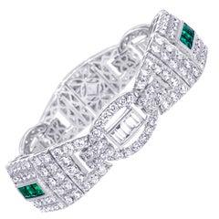 Diamond and Emerald Gold Bracelet