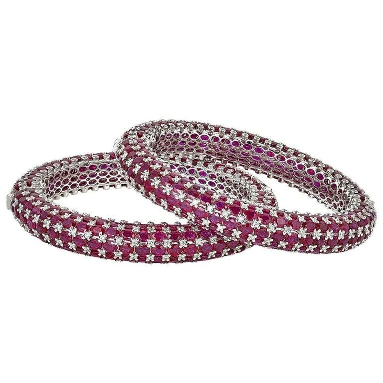 Stackable Ruby Diamond Gold Bracelets