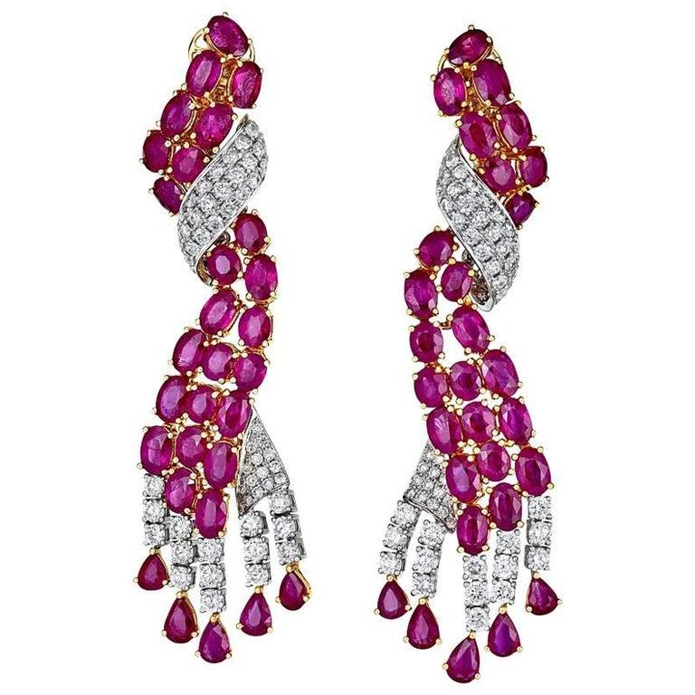 Ruby Diamond Two-Color Gold Drop Earrings