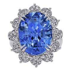 Ceylon Sapphire Ring with Large Round Diamonds