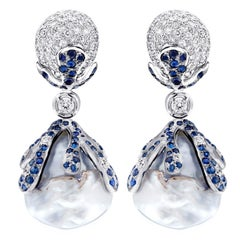 Unique Diamond, Sapphire and Pearl Earrings