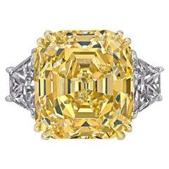 GIA Certified 14.36 Carat Fancy Intense Yellow Emerald Cut Diamond Ring