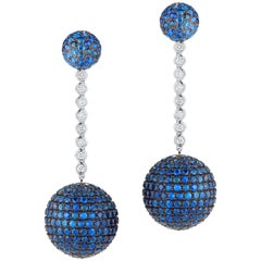 Elegant Hanging Earrings Set with Diamond and Sapphire