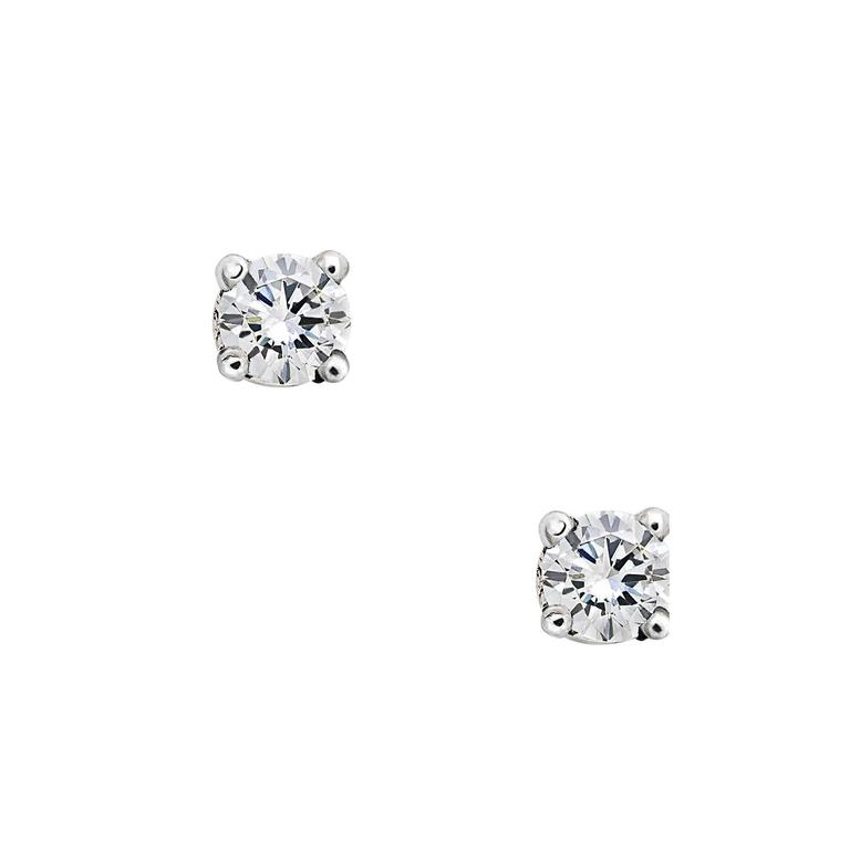 Brilliant Cut White Diamonds White Gold Stud Earrings 2