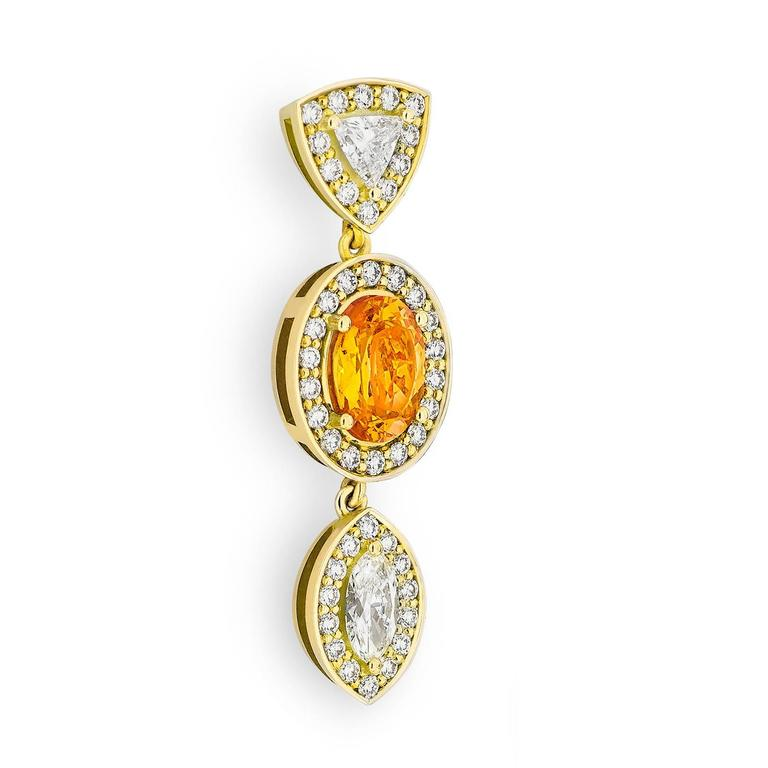 Yellow Gold Pave Set White Diamond Marquise Trillion Orange Garnets Earrings For Sale 1