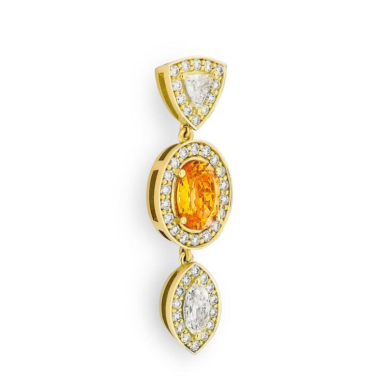 Yellow Gold Pave Set White Diamond Marquise Trillion Orange Garnets Earrings For Sale 2