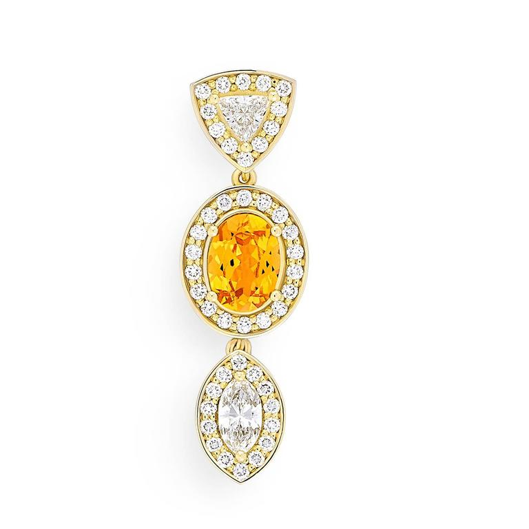Women's Yellow Gold Pave Set White Diamond Marquise Trillion Orange Garnets Earrings For Sale