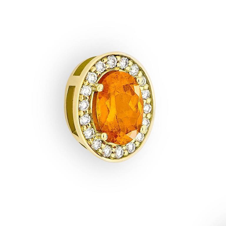 Women's Yellow Gold Pave Set White Diamond Brilliant Orange Garnet Stud Earrings For Sale