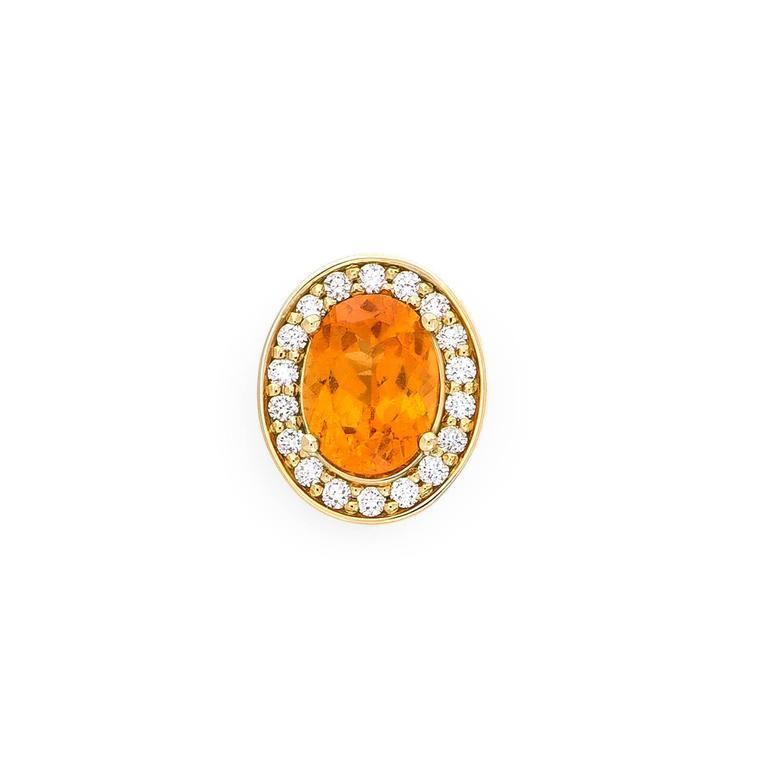 Yellow Gold Pave Set White Diamond Brilliant Orange Garnet Stud Earrings For Sale 1