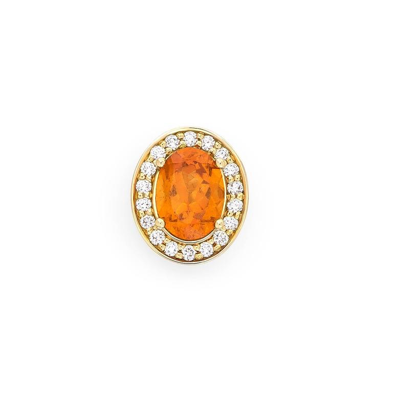 Yellow Gold Pave Set White Diamond Brilliant Orange Garnet Stud Earrings For Sale 2