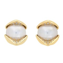 18 Karat Yellow Gold Pave Set White Diamond 8mm Akoya Pearls Stud Earrings