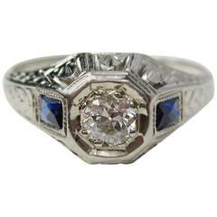 1920s Art Deco Diamond White Gold Ring
