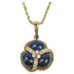 Lapis Lazuli Diamond Gold Pendant Necklace