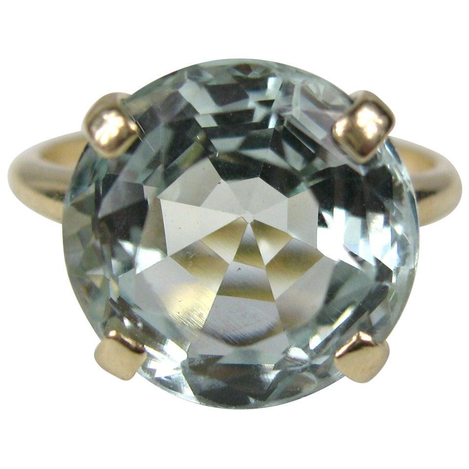 aquamarine gold solitaire ring at 1stdibs