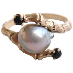 Mabe Pearl Sapphire Gold Bamboo Ring