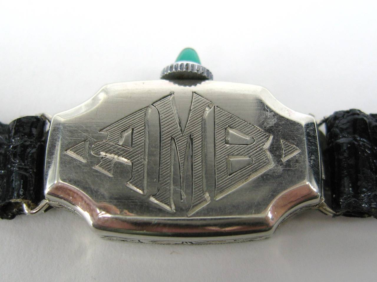 Bruner Lady's White Gold Emerald Diamond Art Deco Wristwatch Circa 1930s 3