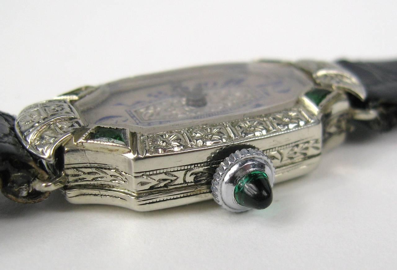 Bruner Lady's White Gold Emerald Diamond Art Deco Wristwatch Circa 1930s 2