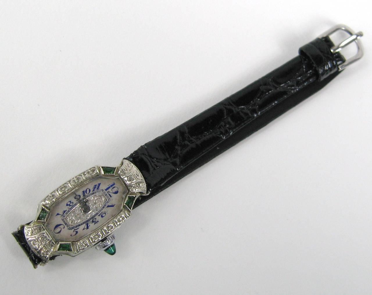 Bruner Lady's White Gold Emerald Diamond Art Deco Wristwatch Circa 1930s 4