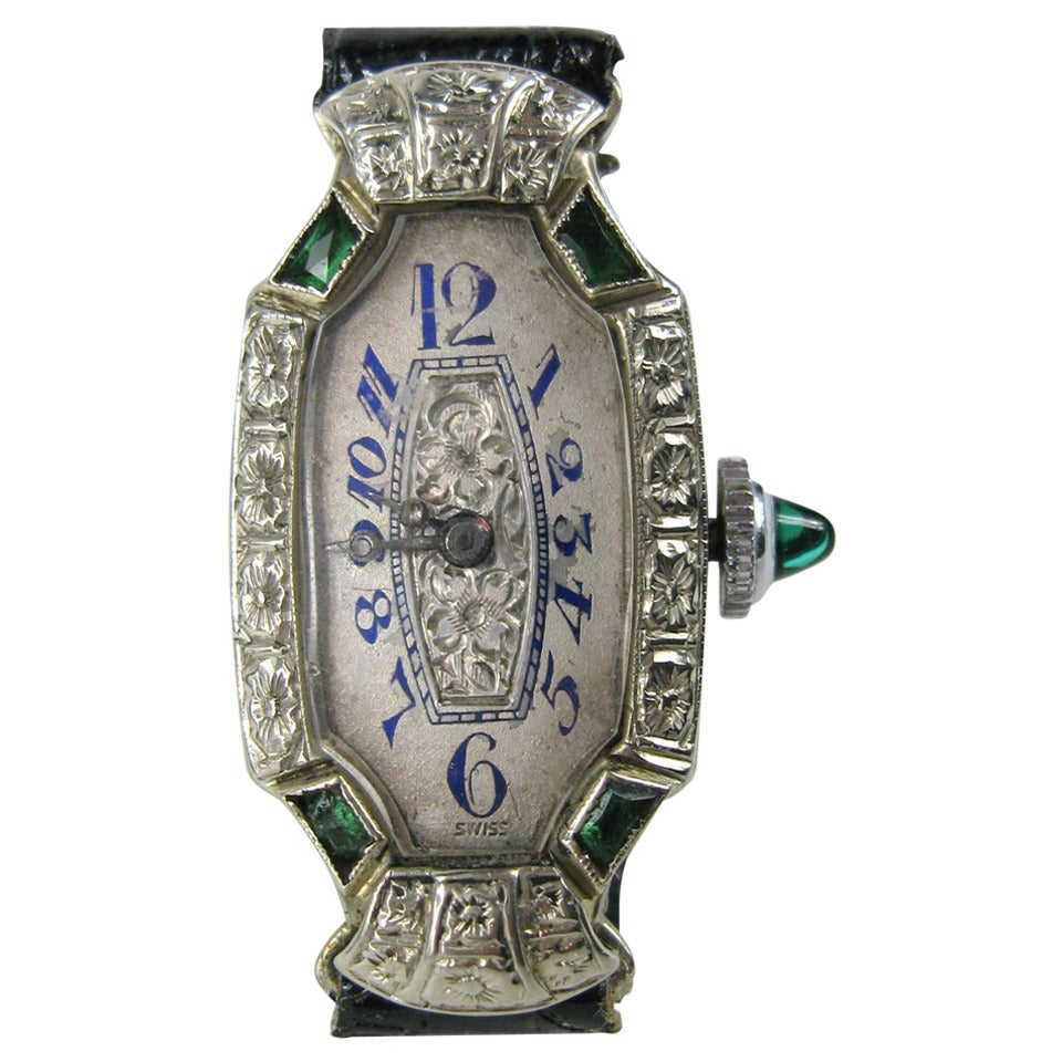 Bruner Lady's White Gold Emerald Diamond Art Deco Wristwatch Circa 1930s 1