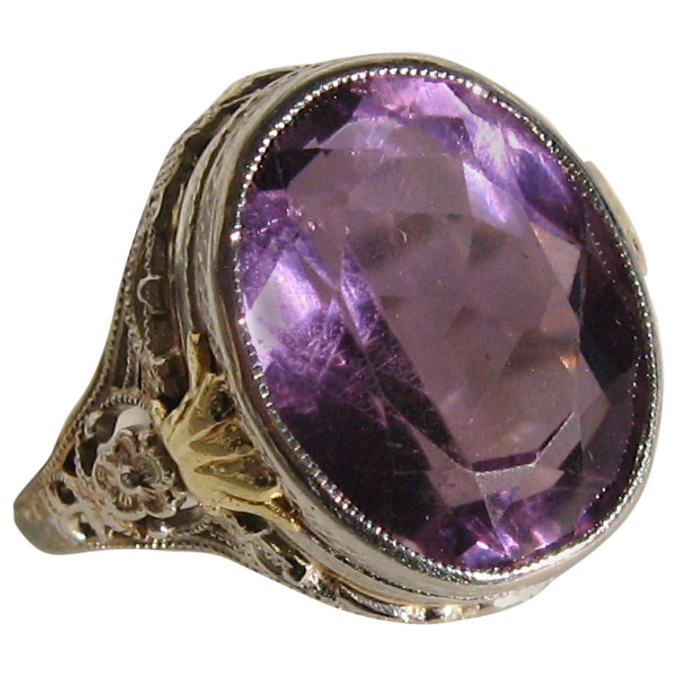 1920s Amethyst Gold Filigree Ring For Sale At 1stdibs