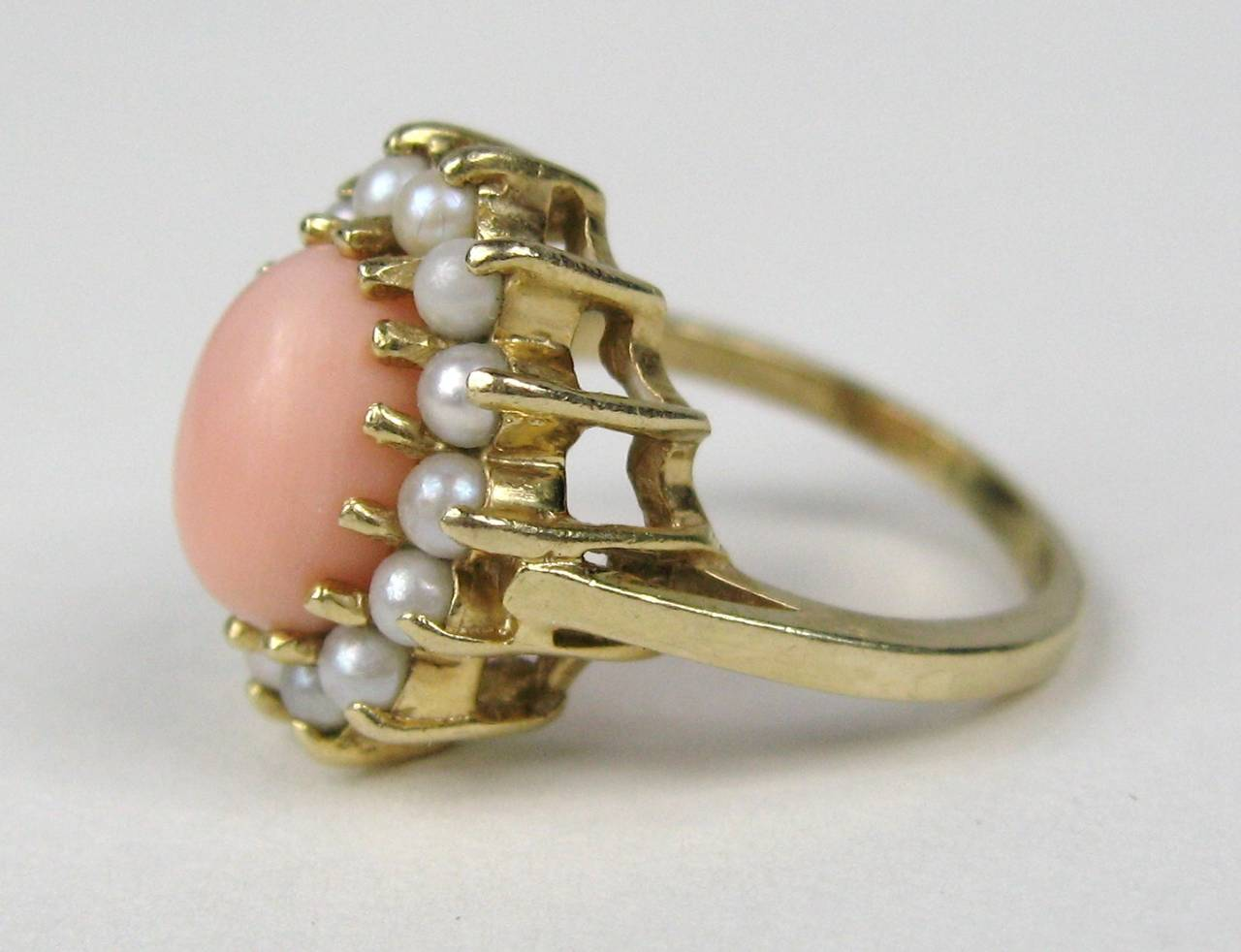 1960s Coral Pearl Gold Cocktail Ring 3