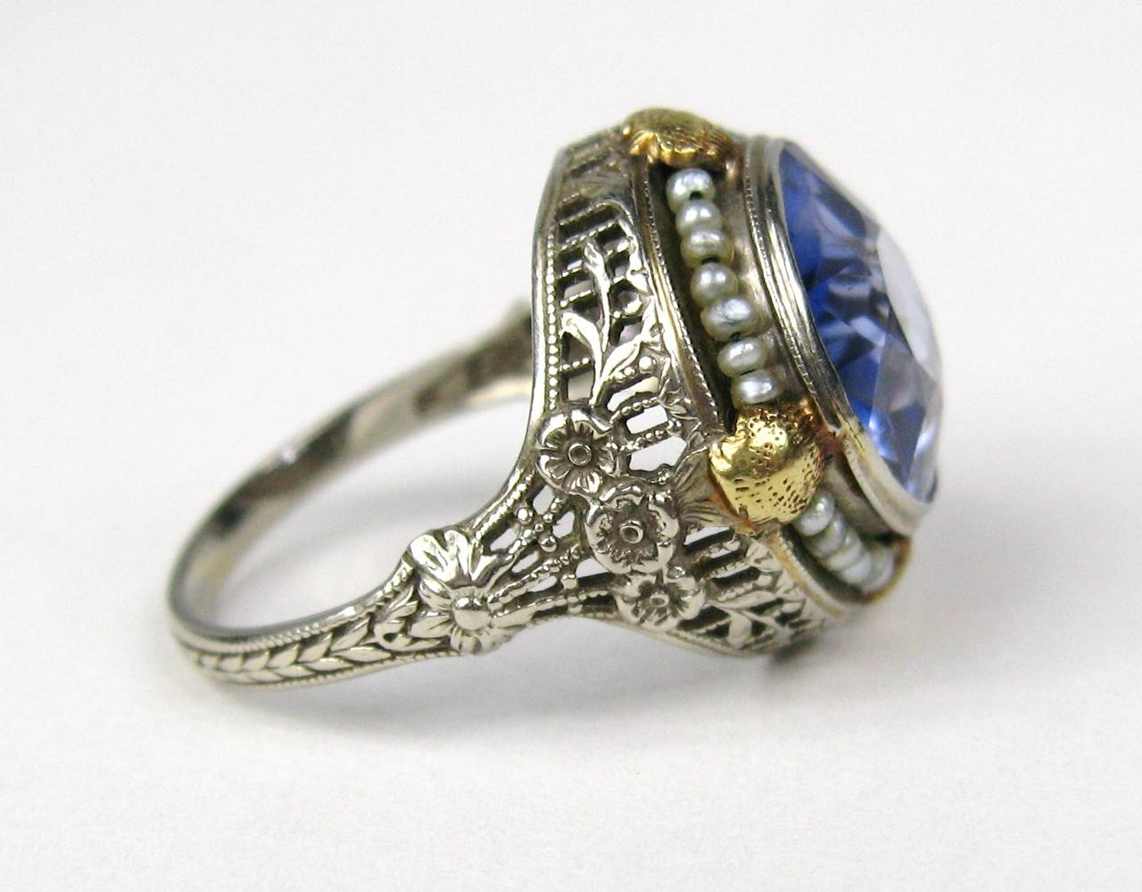 Art Nouveau Seed Pearl Gold Beauty Ring at 1stdibs