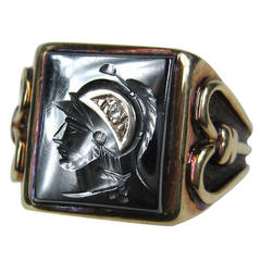 Hematite Diamond Gold Intaglio Ring